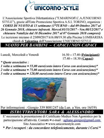 Le nuove attività Unicorno Style di Nuoto presso la Piscina Lombardia
